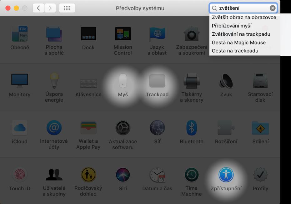 """Okno Předvolby systému, vněmž je vpoli hledání uveden text """"zoom"""" a pod ním je vidět seznam nalezených výsledků atři zvýrazněné ikony předvoleb."""