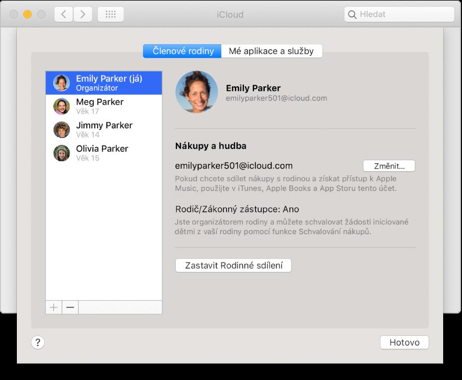 Panel Členové rodiny vpředvolbách iCloudu