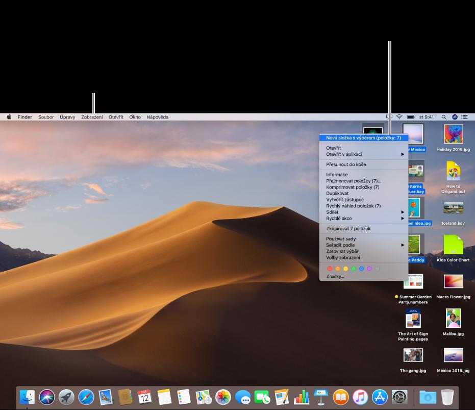 Příklad plochy se soubory. Kseskupení auspořádání ikon použijte Nabídku zobrazení vlevo nahoře na obrazovce. Soubory na ploše si můžete uspořádat – pokud je chcete umístit do nové složky, vyberte soubory, klikněte na něj se stisknutou klávesou Ctrl apotom vyberte volbu Nová složka svýběrem.