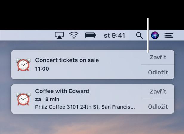 Oznámení zaplikace Kalendář vpravém horním rohu obrazovky.