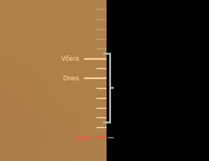 Časová osa záloh sjednotlivými dílky. Červený dílek na ose označuje zálohu, kterou si právě prohlížíte