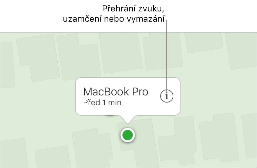 Mapa služby Najít iPhone na webových stránkách iCloud.com se zobrazenou polohou Macu