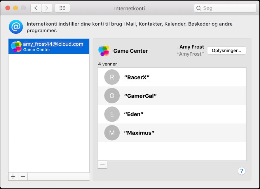 En Game Center-konto i Internetkonti.
