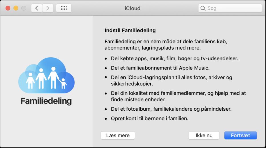 Vinduet til indstilling af Familiedeling i iCloud-indstillinger.