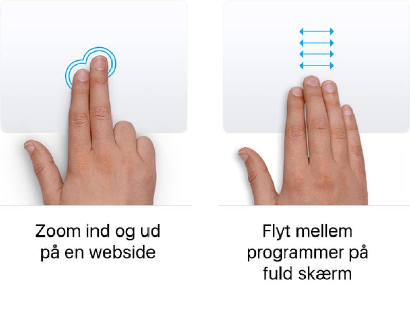 Eksempler på pegefeltbevægelser til at zoome ind og ud af en webside og flytte mellem programmer på fuld skærm.