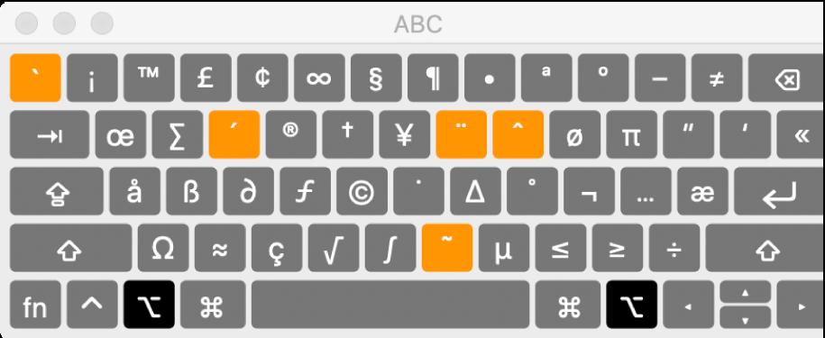Tastaturfremviser med ABC-layoutet, der viser fem fremhævede døde taster