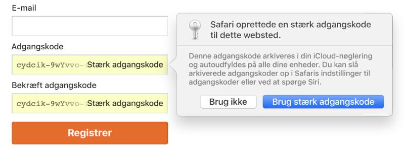 En besked fra Safari, der viser, at Safari har oprettet en stærk adgangskode til et websted og arkiveret den i iCloud-nøglering.