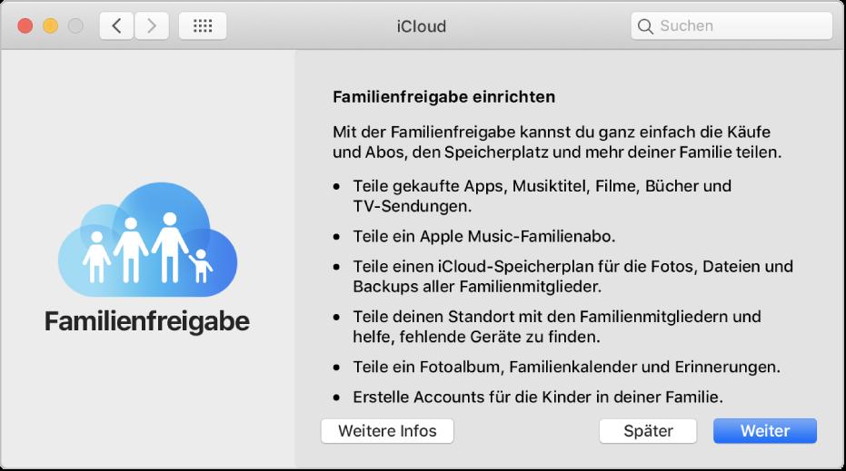 """Der Bereich zum Einrichten der Familienfreigabe in der Systemeinstellung """"iCloud"""""""