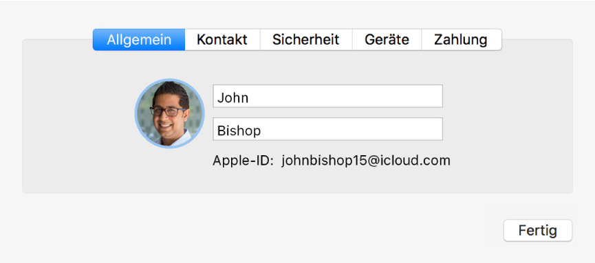 """Dialogfenster """"Accountdetails"""" in der Systemeinstellung """"iCloud"""""""