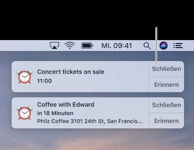 """Mitteilungen der App """"Kalender"""" oben rechts auf dem Bildschirm"""
