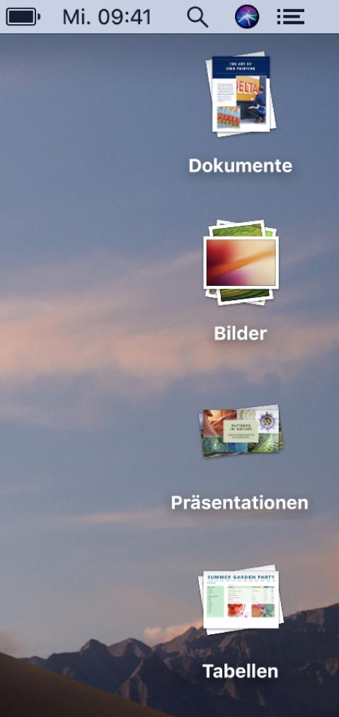 Ein Mac-Schreibtisch mit vier Stapeln für Dokumente, Bilder, Präsentationen und Tabellenkalkulationen am rechten Bildschirmrand