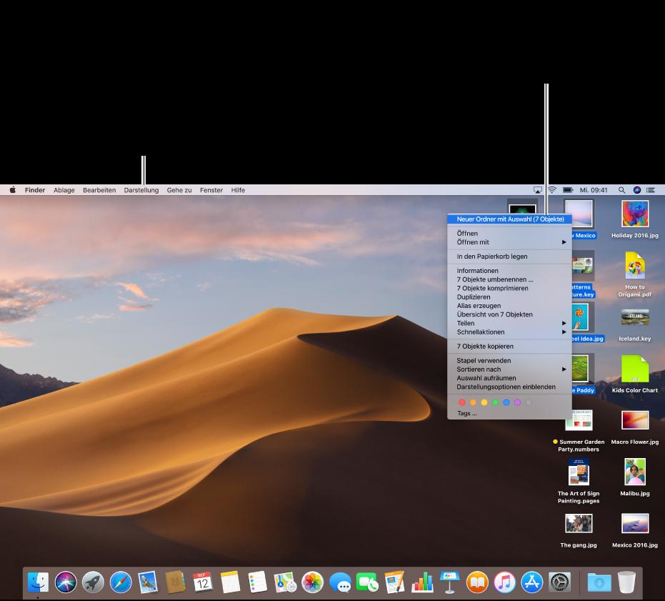 """Ein Beispiel für einen Schreibtisch mit Dateien. Verwende das Menü """"Darstellung"""" oben links auf den Bildschirm, um Symbole anzuordnen und zu sortieren. Zum Organisieren von Dateien auf dem Schreibtisch kannst du sie in einem neuen Ordner ablegen. Wähle die Dateien hierzu aus und klicke bei gedrückter Taste """"ctrl"""" auf eine Datei und wähle """"Neuen Ordner mit Auswahl""""."""