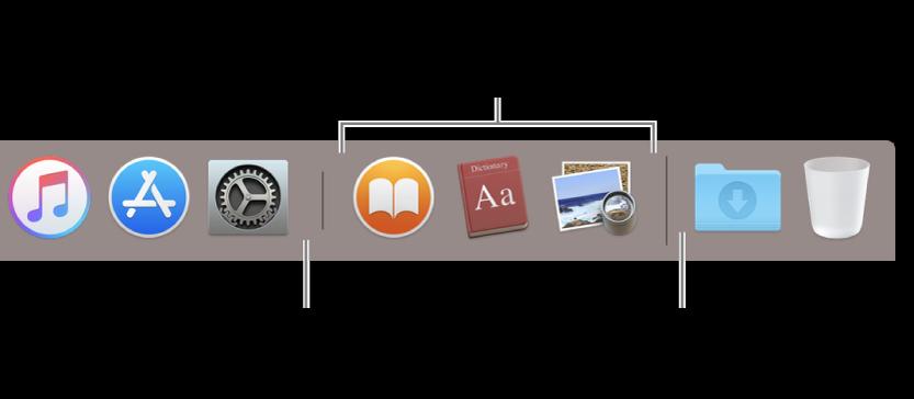 Η διαχωριστική γραμμή μεταξύ εφαρμογών και αρχείων και φακέλων στο Dock.