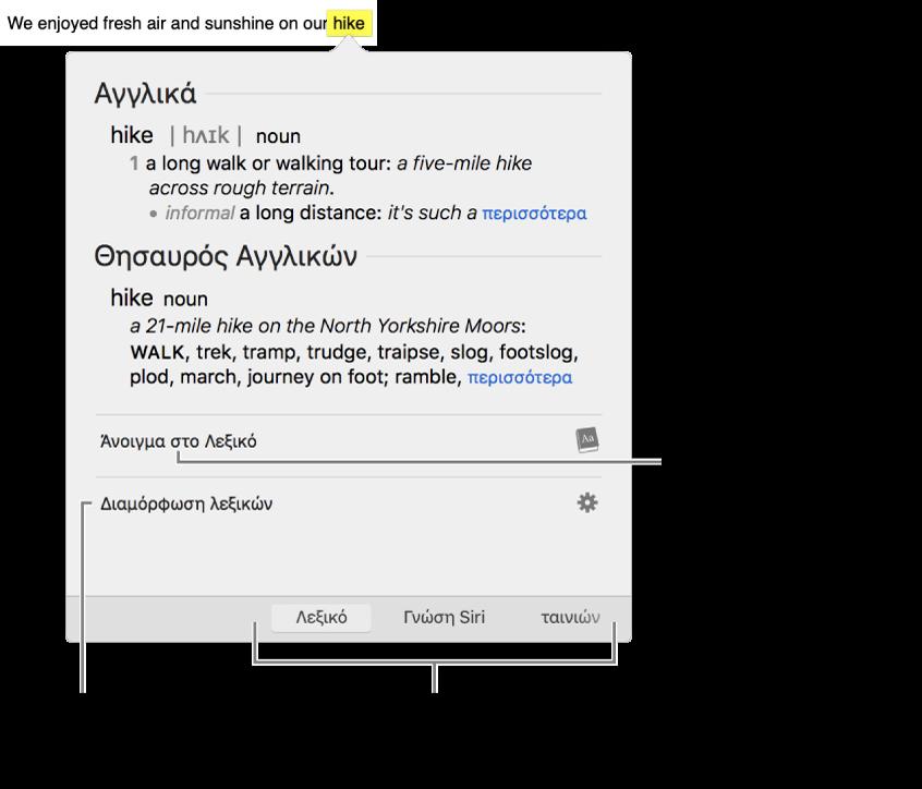 Το παράθυρο της Εύρεσης που δείχνει ορισμούς για μια λέξη στο Λεξικό και τον Θησαυρό.