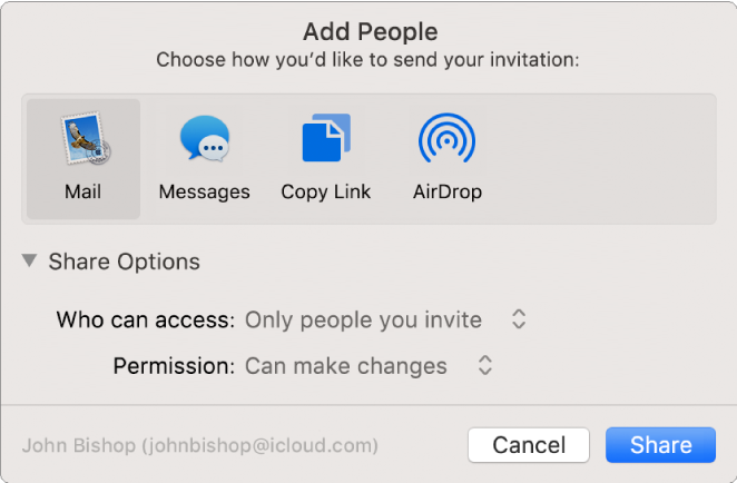 Add People window showing apps that you can use to make invitations and the options for sharing documents.