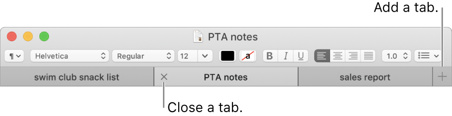 A TextEdit window with three tabs in the tab bar, located below the formatting bar. One tab shows the Close button. The Add button is located at the right end of the tab bar.