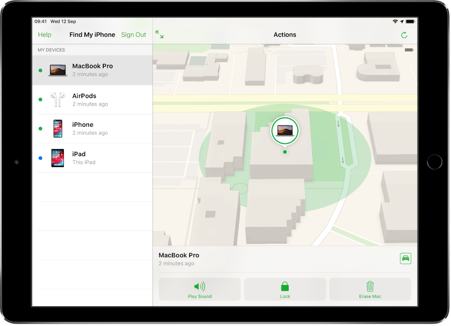 Find My iPhone on an iPad showing the location of a Mac.
