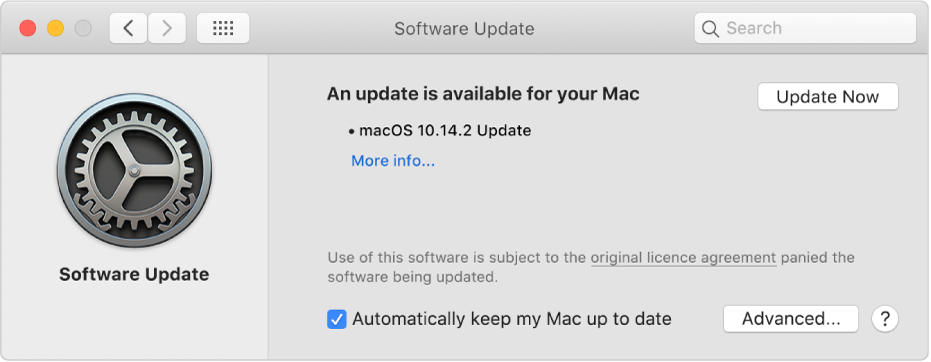 Software Update preferences showing that an update is available.