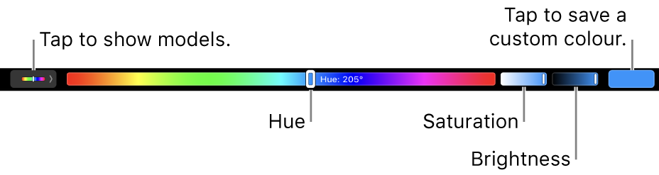 The Touch Bar showing hue, saturation and brightness sliders for the HSB model. At the left end is the button to show all profiles; at the right, the button to save a custom colour.