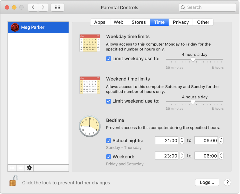 The Time pane in Parental Controls preferences showing weekday, weekend and bedtime time limits.