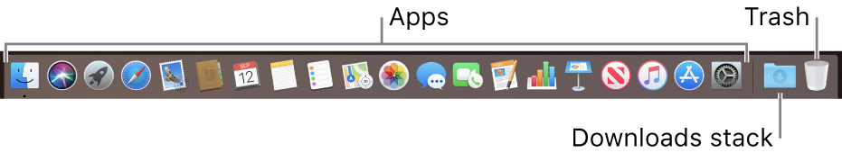 The Dock showing icons for apps, the Downloads stack and the Trash.