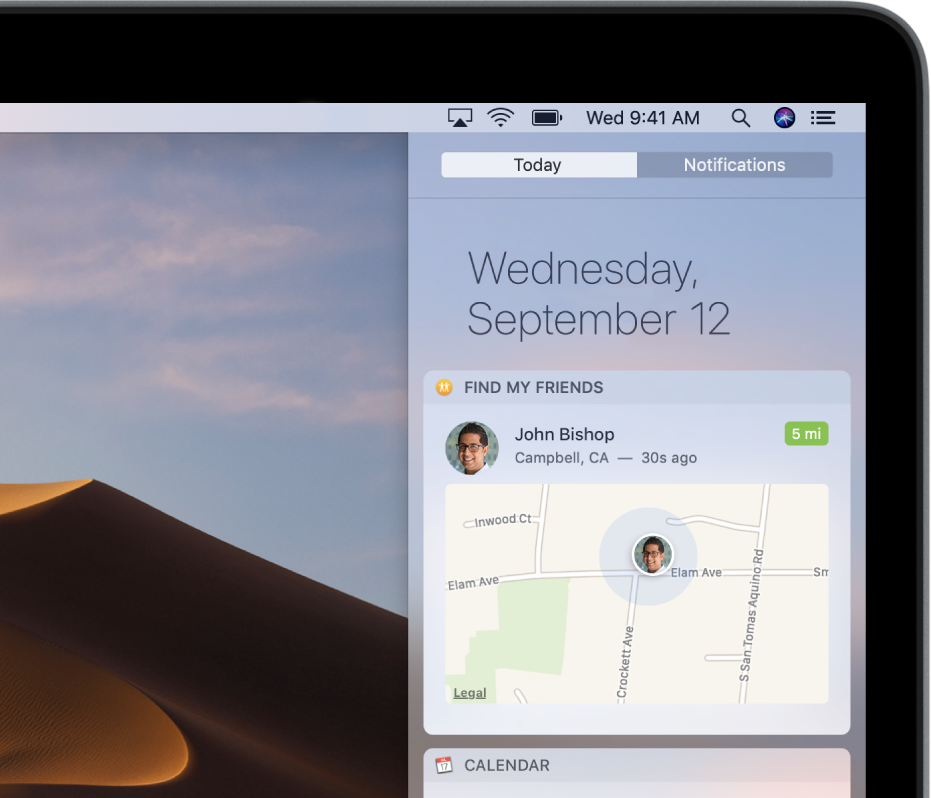 The Find My Friends widget in Today view in Notification Center showing the mapped location of a family member or friend.