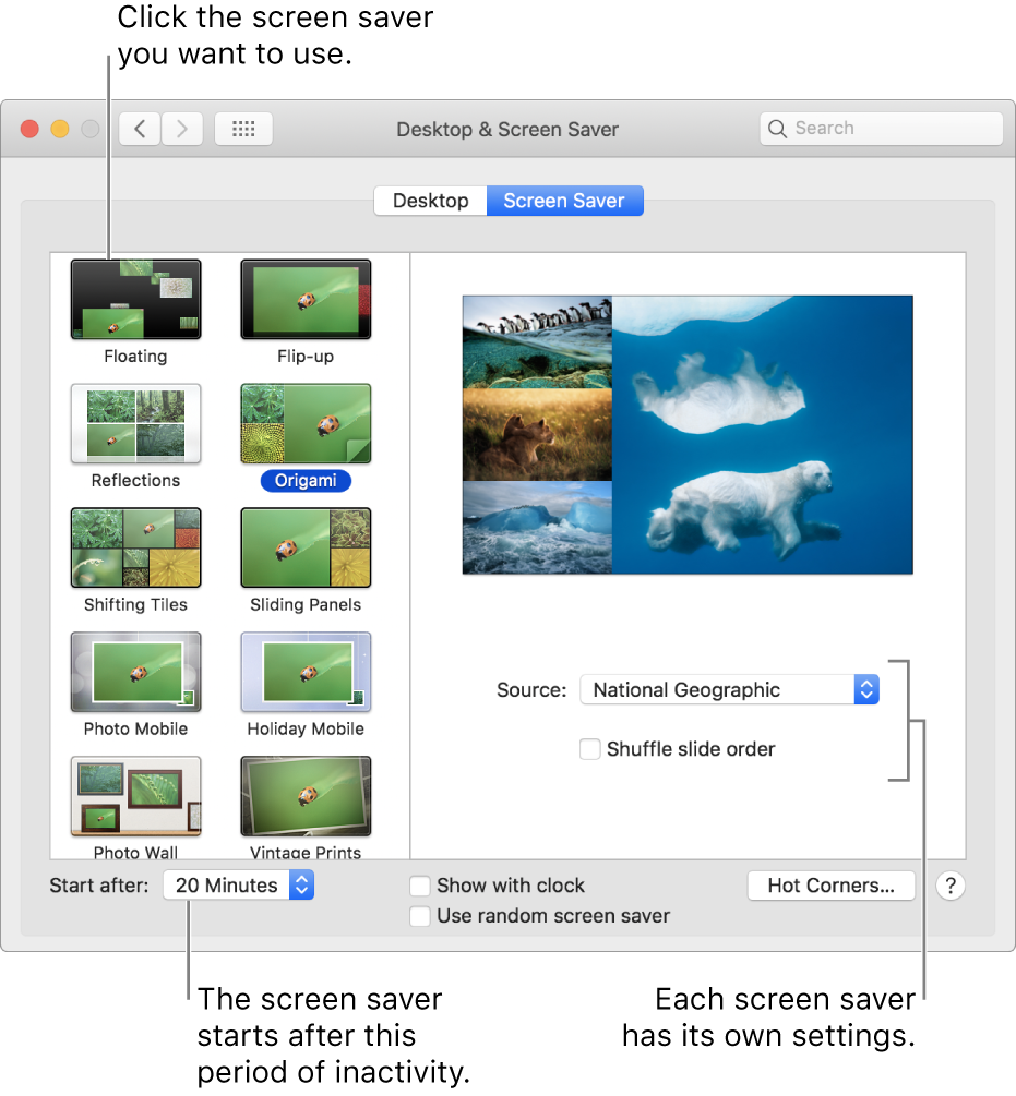 The Screen Saver pane of System Preferences.