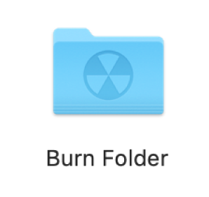 A burn folder on the desktop.