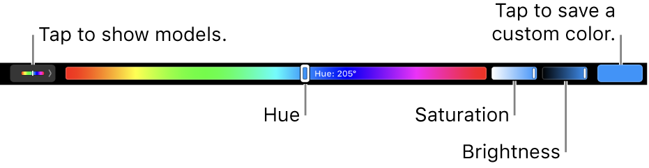 The Touch Bar showing hue, saturation, and brightness sliders for the HSB model. At the left end is the button to show all profiles; at the right, the button to save a custom color.
