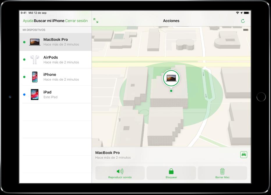 Buscar Mi iPhone en un iPad mostrando la ubicación de una Mac.