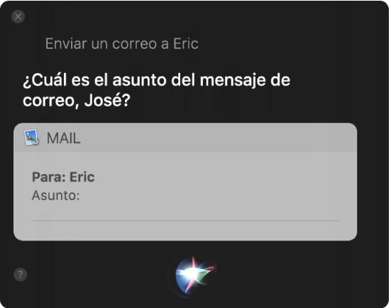 Ventana de Siri mostrando un mensaje de correo electrónico que está siendo dictado.