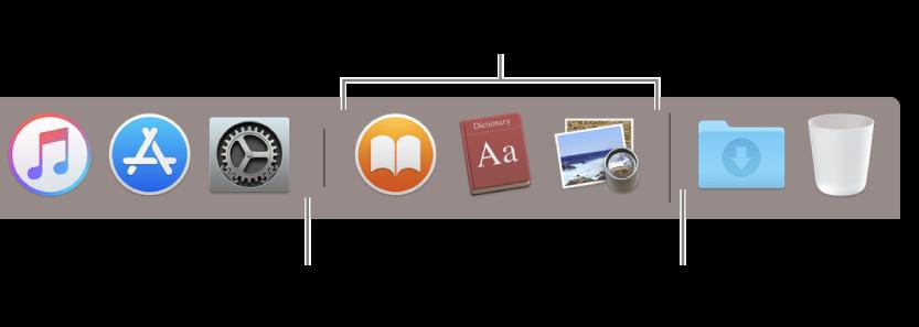 Una parte del Dock mostrando las líneas de separación entre apps, apps usadas recientemente, archivos y carpetas.