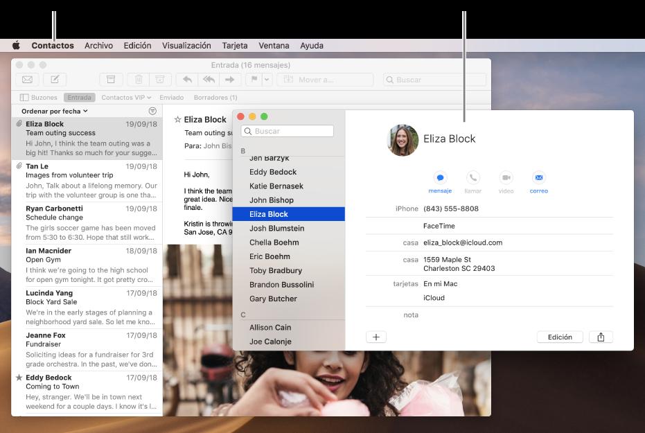 Un ejemplo de un escritorio con varias ventanas abiertas, pero sólo una app activa.
