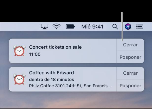 Notificaciones de la app Calendario en la esquina derecha superior de la pantalla.