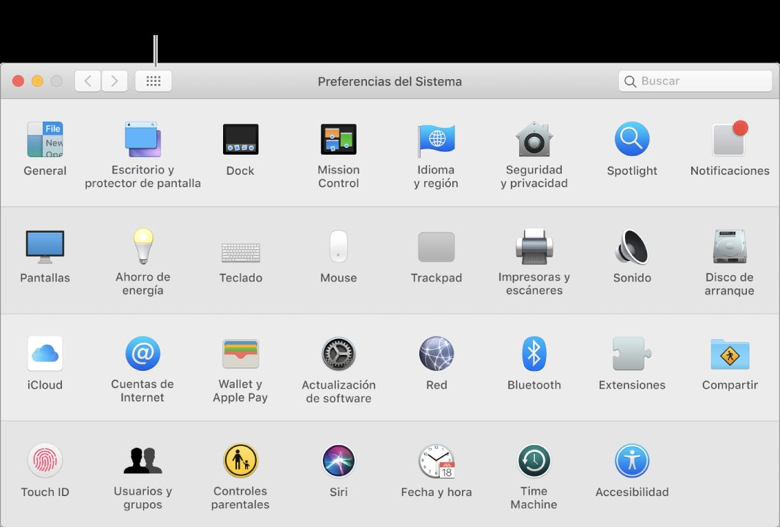 """Ventana de Preferencias del Sistema con la cuadrícula de íconos. Haz clic en el botón """"Mostrar todo"""" en la barra de herramientas de la ventana para ver las preferencias del sistema como una lista, o para cambiar la apariencia de la cuadrícula."""