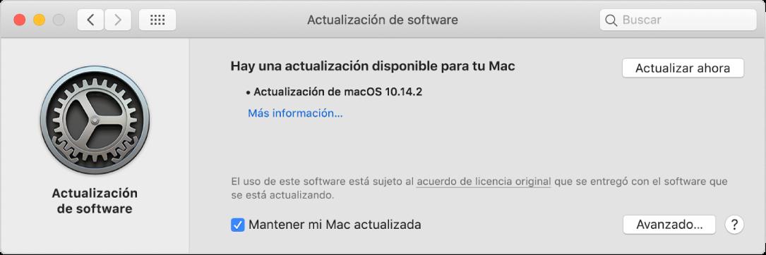 Las preferencias de Actualización de Software mostrando que hay una actualización disponible.