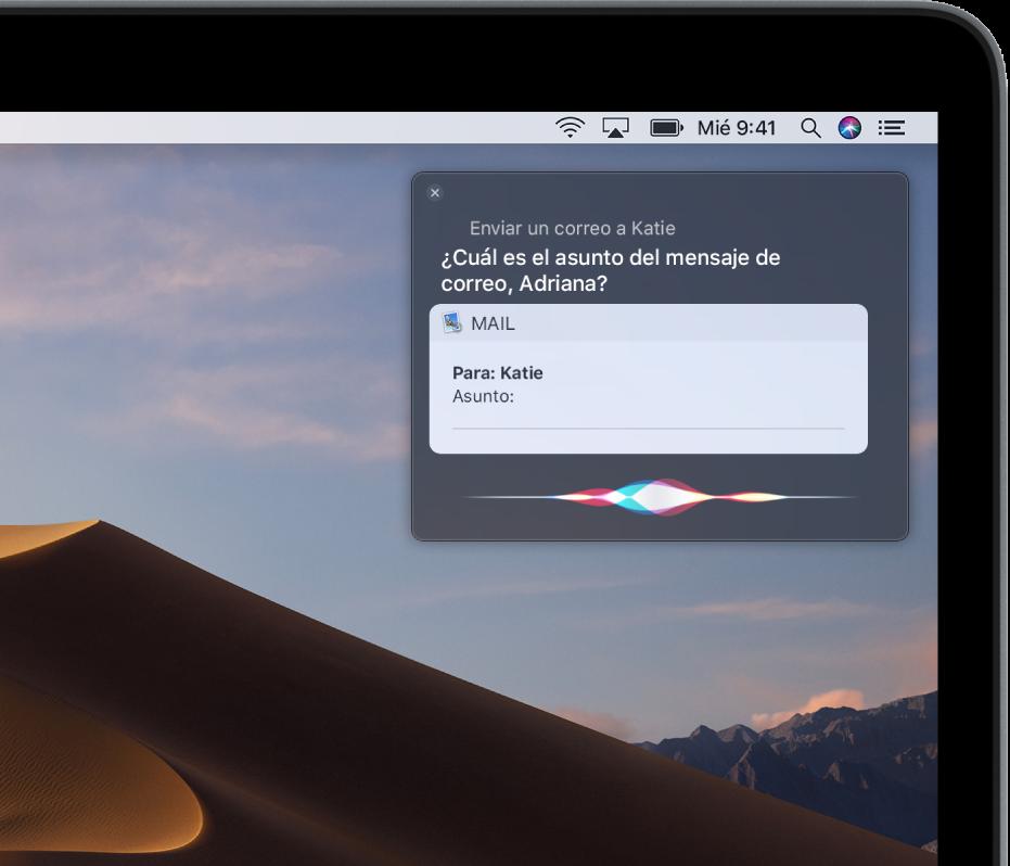 La ventana de Siri en la esquina superior derecha muestra un mensaje de correo electrónico que se está dictando.