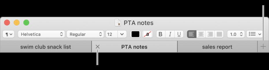 Una ventana de TextEdit con tres pestañas en la barra de pestañas, ubicada debajo de la barra de formato. Una pestaña muestra el botón Cerrar. El botón Agregar está ubicado en el extremo derecho de la barra de pestañas.