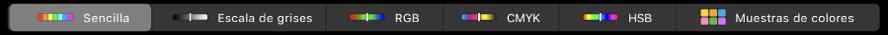 La Touch Bar mostrando modelos de color, de izquierda a derecha, Sencillo, Escala de grises, RGB, CMYK, y HSB. Al extremo derecho está el botón Muestras.