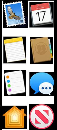 Iconos de Mail, Calendario, Notas, Contactos, Recordatorios, Mensajes, Casa y Noticias
