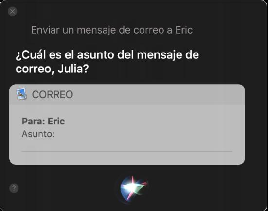 Ventana de Siri, con un mensaje de correo electrónico que se está dictando.