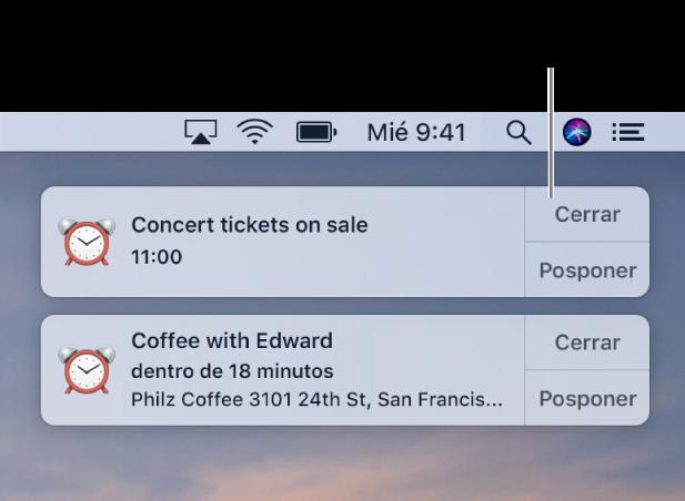 Notificaciones de la app Calendario en la esquina superior derecha de la pantalla.