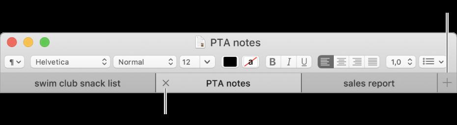Una ventana de TextEdit con tres pestañas en la barra de pestañas, situadas debajo de la barra de formato. Una pestaña muestra el botón de cierre. El botón Añadir se encuentra a la derecha de la barra de pestañas.