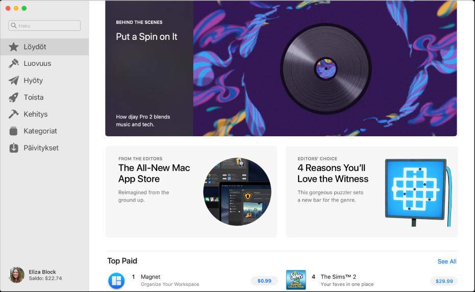 App Store -ikkuna, jossa on vasemmalla sivupalkki ja oikealla klikattavia alueita mukaan lukien Kulissien takana, Editoreilta ja Editorien valinta.