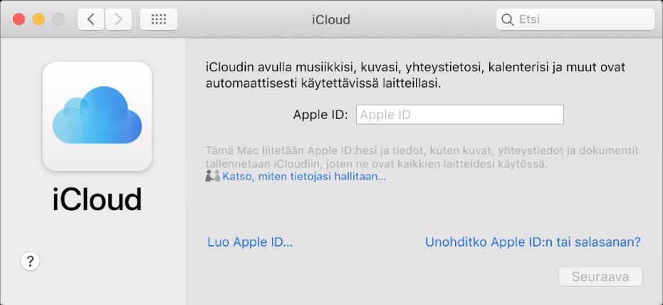 iCloud-asetukset valmiina AppleID:n ja salasanan syöttämistä varten.