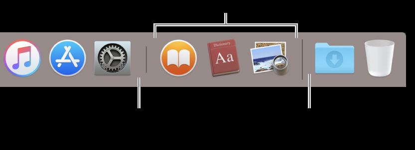Dockin erotinviiva ohjelmien sekä tiedostojen ja kansioiden välillä.