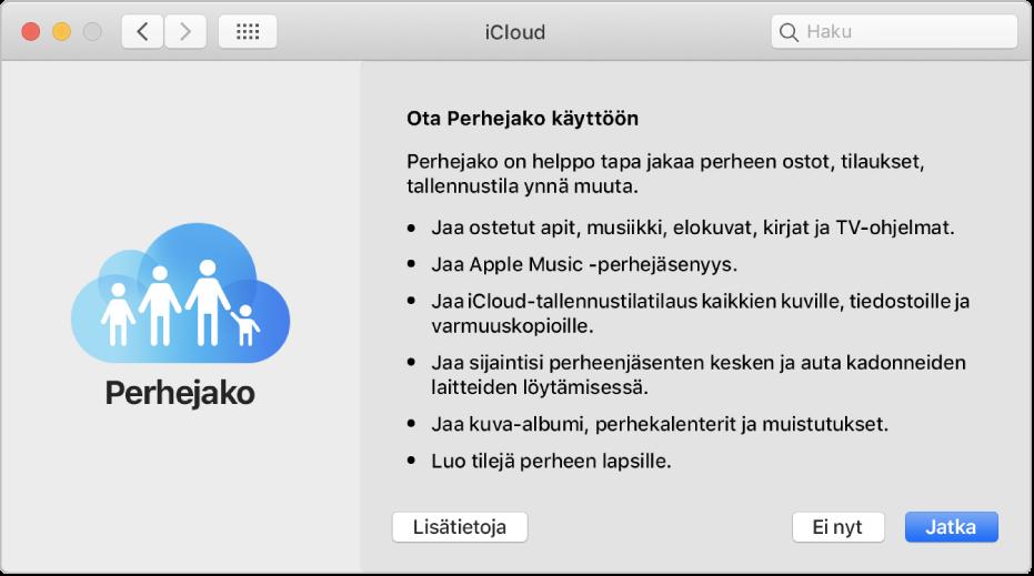 iCloud-asetusten Perhejaon käyttöönotto-osio.