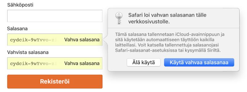 Safarin huomautus, joka kertoo, että Safari on luonut verkkosivustolle vahvan salasanan ja tallentanut sen iCloud-avainnippuun.
