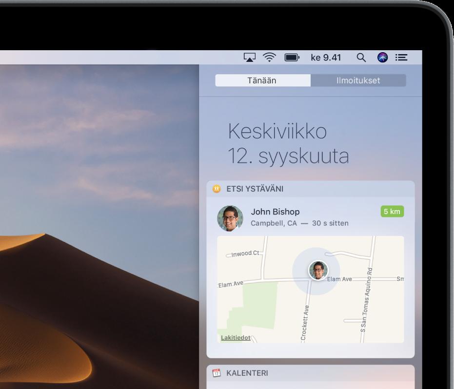Ilmoituskeskuksen Tänään-näkymän Etsiystäväni -widgetti näyttää perheenjäsenen tai ystävän sijainnin kartalla.