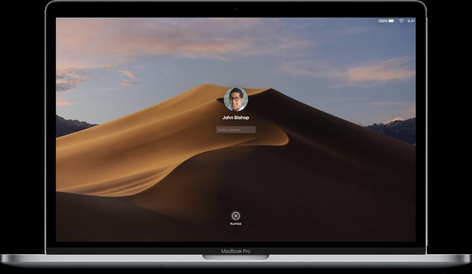 Macin työpöytä, jossa näkyy lukittu sisäänkirjautumisnäyttö, jonka keskellä on salasanakenttä ja Kumoa-painike alhaalla.